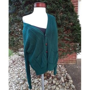 Vintage Cable Knit Fisherman Cardigan Fall Sweater